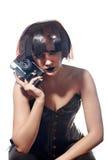 Bella donna con l'acconciatura delle strisce di pellicola Fotografia Stock
