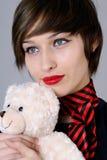 bella donna con l'orso di orsacchiotto Fotografia Stock