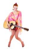 Bella donna con la chitarra Immagine Stock Libera da Diritti