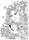Bella donna con la lumaca nei colori Progettazione per gli adulti del libro da colorare illustrazione di stock