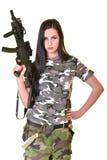 Bella donna con la pistola Immagine Stock
