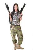 Bella donna con la pistola Fotografie Stock