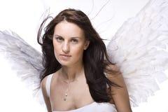 Bella donna con le ali di angelo Immagini Stock