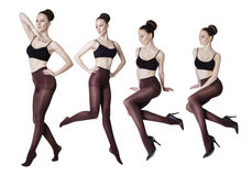 Bella donna con le gambe sexy lunghe in calze Fotografie Stock Libere da Diritti