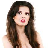 Bella donna con le labbra rosse Immagine Stock Libera da Diritti