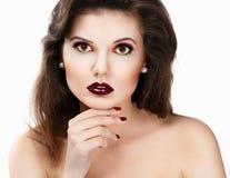 Bella donna con le labbra rosse Fotografia Stock