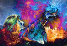 Bella donna con le mani che tengono luce, grafico di computer da pittura Fondo cosmico dello spazio illustrazione vettoriale