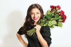 Bella donna con le rose Fotografia Stock