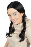 Bella donna con le trecce Alto vicino del ritratto Fotografia Stock