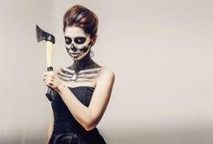 Bella donna con lo scheletro di trucco Fotografia Stock Libera da Diritti