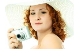 Bella donna con una macchina fotografica Immagini Stock