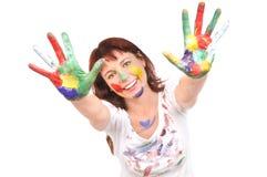 Bella donna con vernice Immagine Stock Libera da Diritti