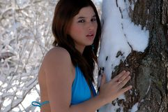 Bella donna in costume da bagno in neve 3 Fotografie Stock