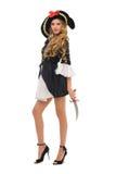 Bella donna in costume di carnevale. Figura del pirata immagini stock