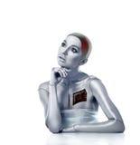 Bella donna cyber con le aree selezionate Fotografia Stock Libera da Diritti