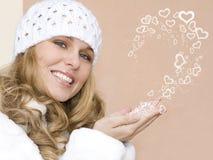 Bella donna del biglietto di S. Valentino Fotografie Stock Libere da Diritti