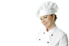 Bella donna a del cuoco sopra priorità bassa bianca Immagine Stock