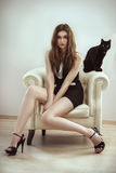 Bella donna del modello di moda con un gatto Fotografia Stock Libera da Diritti