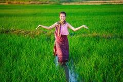 Bella donna dell'agricoltore in riso verde archivato Immagini Stock Libere da Diritti