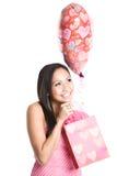 Bella donna dell'asiatico del biglietto di S. Valentino Fotografia Stock Libera da Diritti