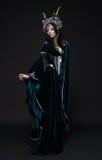 Bella donna dell'elfo di fantasia in corona del fiore Immagine Stock