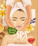 Bella donna dell'illustrazione di riserva di vettore che prende trattamento facciale di massaggio nel salone della stazione terma Fotografia Stock