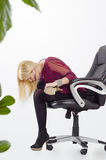 Bella donna di affari che fa allungamento di yoga Fotografia Stock