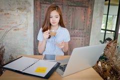 Bella donna di affari che per mezzo di un computer portatile Immagini Stock Libere da Diritti
