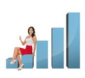 Bella donna di affari che si siede sul grande grafico 3d Fotografie Stock