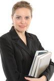 Bella donna di affari con il libro Fotografie Stock
