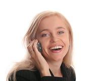 Bella donna di affari con il telefono mobile immagine stock