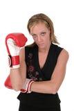 Bella donna di affari nei guanti di inscatolamento 2 Fotografie Stock