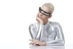 Bella donna di cyber Immagini Stock