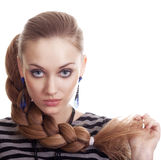Bella donna di modo con i bei capelli della treccia immagini stock libere da diritti