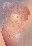 Bella donna di modo con i fiori Fotografie Stock