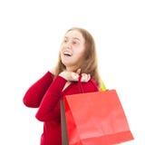 Bella donna durante lo shopping tour Immagine Stock
