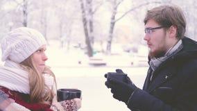 Bella donna ed uomo barbuto che parlano e che bevono cacao caldo dalle tazze in loro mani nel parco di inverno vista laterale 4K archivi video