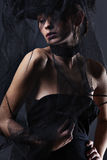 Bella donna elegante in un vestito lungo Immagini Stock Libere da Diritti