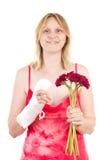 Bella donna felice che il suo dito ottiene alright Immagine Stock
