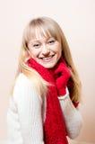 Bella donna felice che indossa sciarpa ed i guanti tricottati Fotografia Stock