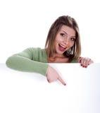 Bella donna felice che precisa fotografia stock