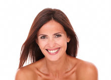 Bella donna felice che ride della macchina fotografica Immagini Stock