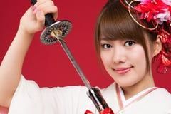 Donna giapponese del kimono Fotografie Stock Libere da Diritti