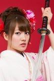 Donna giapponese del kimono Immagini Stock Libere da Diritti