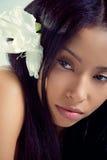 Bella donna hawaiana con un fiore tropicale Immagini Stock