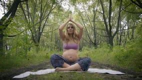 Bella donna incinta che fa yoga prenatale sulla natura all'aperto Sport, forma fisica, stile di vita sano mentre incinto video d archivio