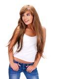 Bella donna indiana sorridente con capelli lunghi Fotografia Stock