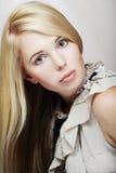 bella donna isolata su beige Immagine Stock Libera da Diritti
