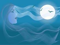 Bella donna, luce della luna del mare Fotografia Stock Libera da Diritti