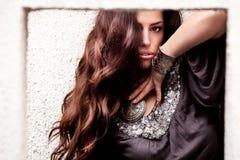 Bella donna lunga dei capelli Immagine Stock